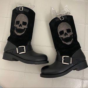 Suede Crystal Skull Moto Boots - Sz 38